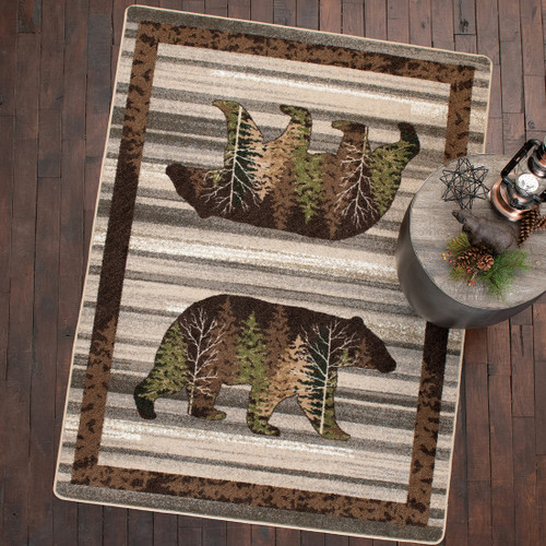 Peaceful Pines Bear Natural Rug Collection
