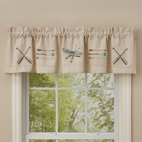 Canoe & Paddles Lined Embroidered Valance
