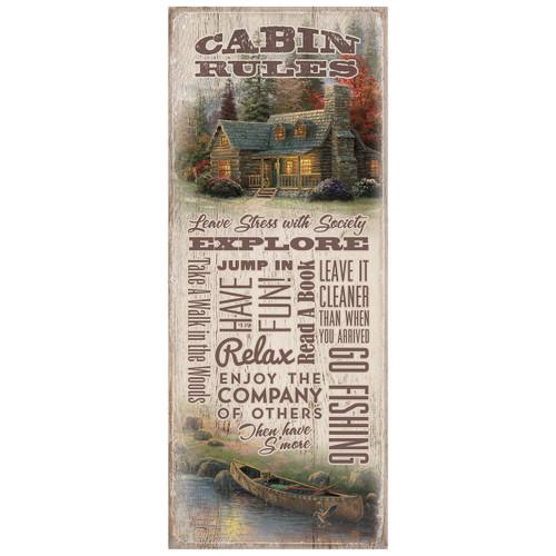 Canoe Cabin Rules Wood Sign