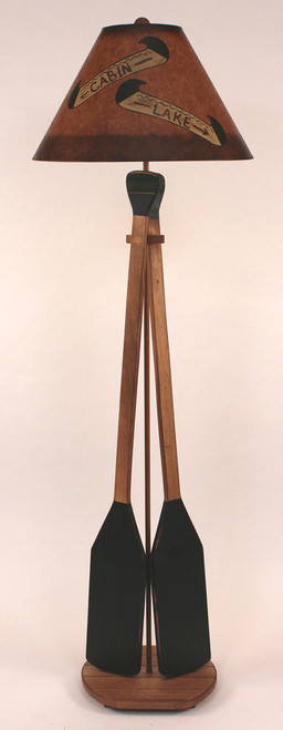 Canoe Paddle Floor Lamp with Painted Canoe Shade