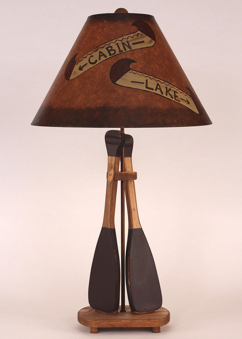 Canoe Paddle Table Lamp with Painted Canoe Shade