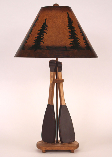 Canoe Paddle Table Lamp with Pine Tree Shade