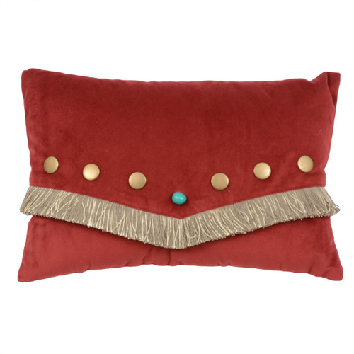 Red Velvet Turquoise Stone Pillow with Fringe