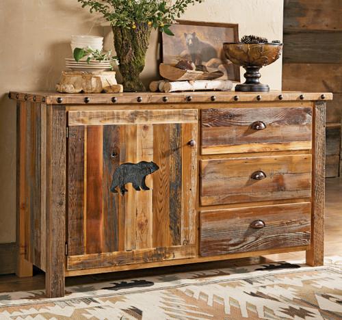 Carved Bear Barnwood Cabinet