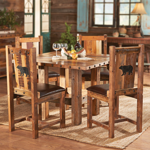 Carved Bear Barnwood Table and Chairs (5 pcs)