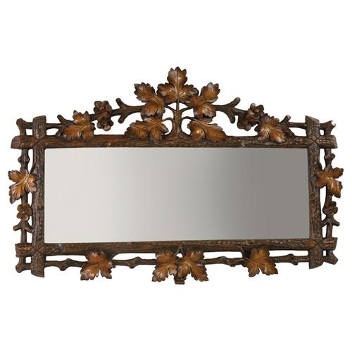 Carved Oak Leaf Rectangle Mirror