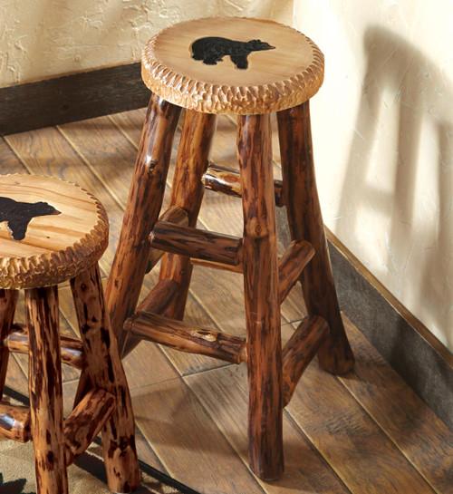 Carved Wood Bear Barstool - Large