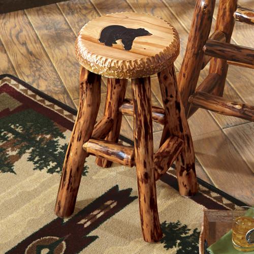Carved Wood Bear Barstool - Small