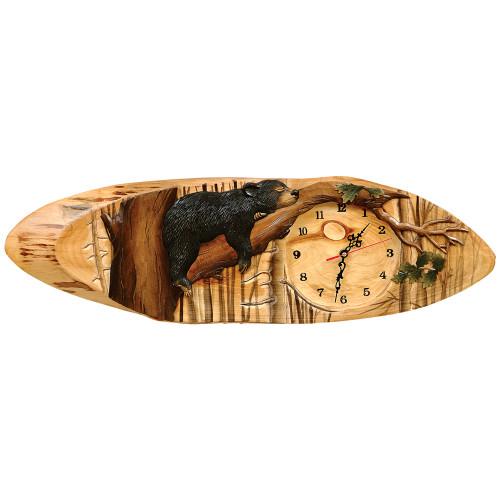 Carved Wood Bear Clock - BACKORDERED UNTIL 11/22/2021