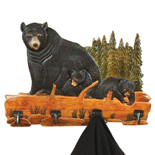 Carved Wood Bear Family Coat Rack