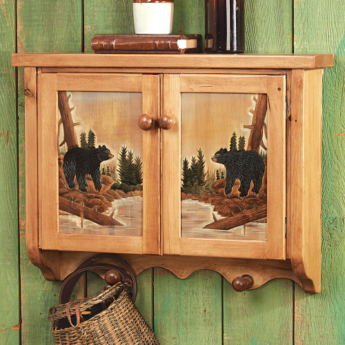 Carved Wood Bear Wall Cabinet