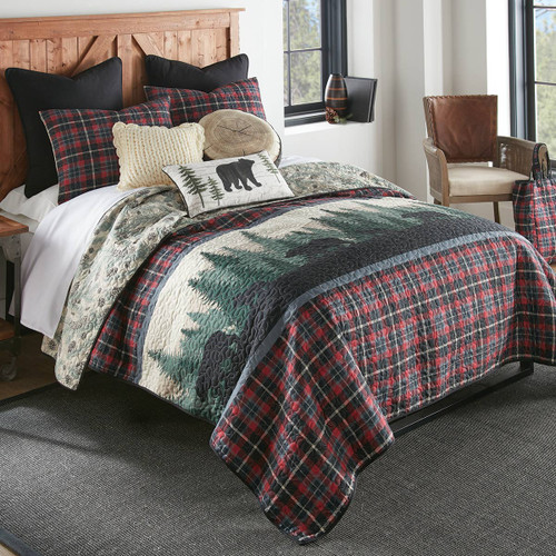 Pine Ridge Bears Red Quilt Bedding Collection