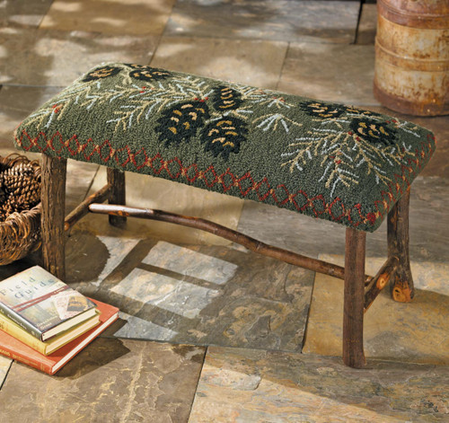 Hooked Wool Pinecone Bench - BACKORDERED UNTIL 12/03/2021