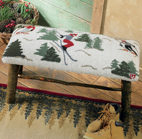 Hooked Wool Skier Hickory Bench - 32 Inch