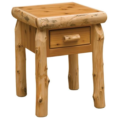 Cedar Log One Drawer Nightstand