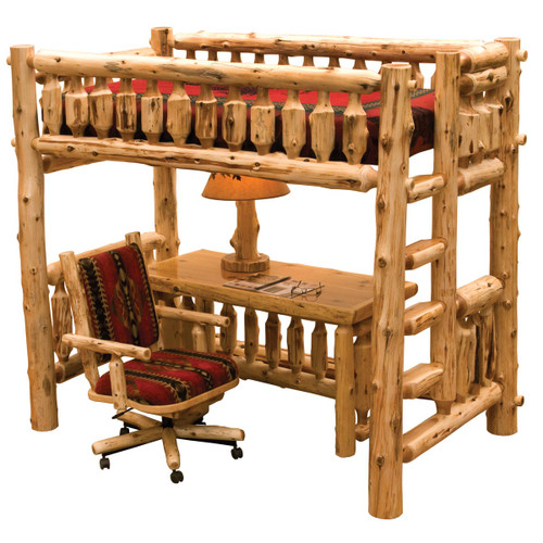 Cedar Log Single Loft Bed