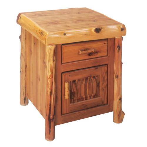 Cedar Log Enclosed End Table