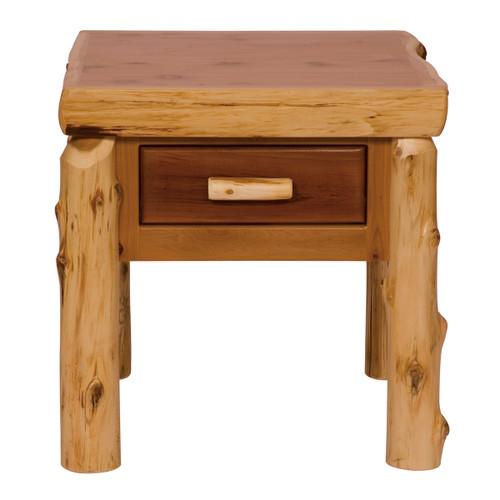 Cedar Log One Drawer End Table