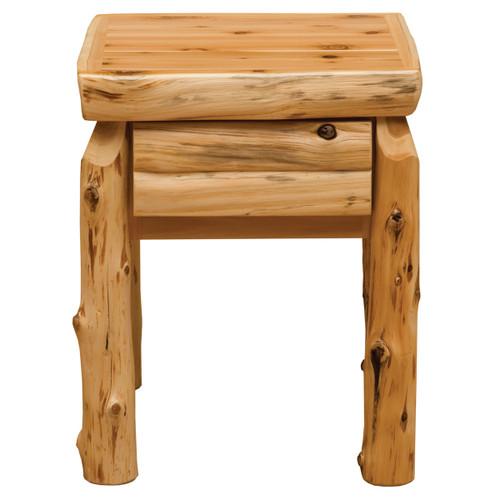 Cedar Log One Drawer Nightstand with Half Log Front