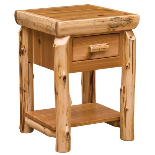 Cedar One Drawer End Table with Shelf