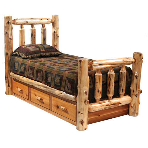 Cedar Traditional Log Bed with Underbed 3 Drawer Dressers - King