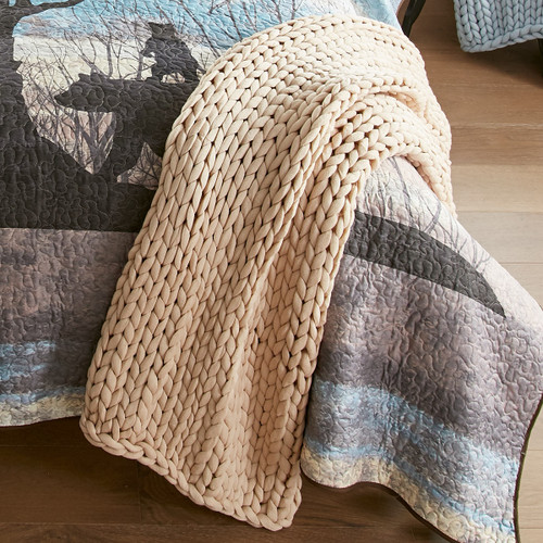 Chunky Knit Taupe Throw