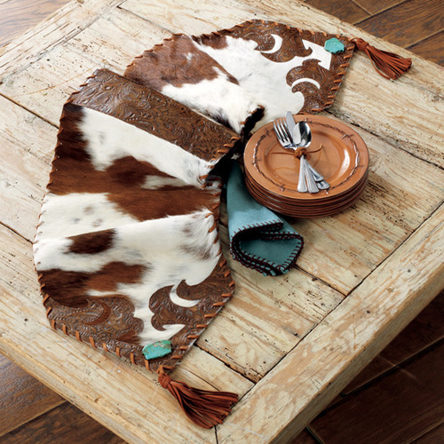 Cowhide and Turquoise Table Runner - Small