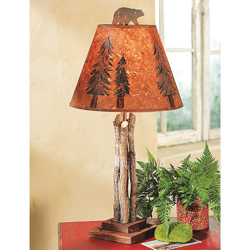 Twig Table Lamp with Bear Finial