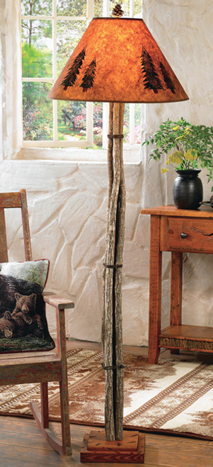 Twig Floor Lamp with Pinecone Finial