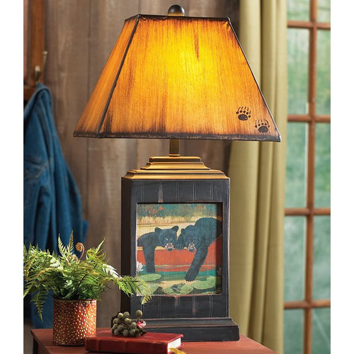 Cubs In Canoe Table Lamp