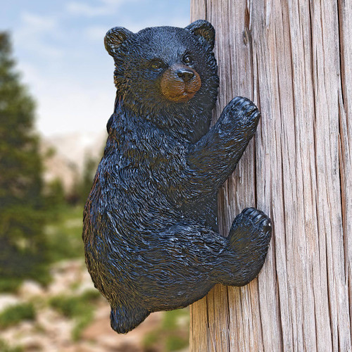 Climbing Bear Tree/Post Wall Hanging Sculpture