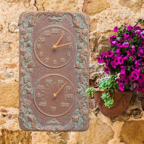 Climbing Ivy Indoor/Outdoor Wall Clock & Thermometer - Copper Verdigris