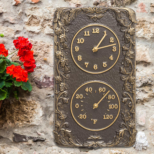 Climbing Ivy Indoor/Outdoor Wall Clock & Thermometer - French Bronze