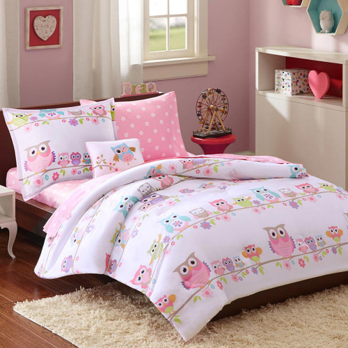 Colorful Owls Complete Bed Set - Twin