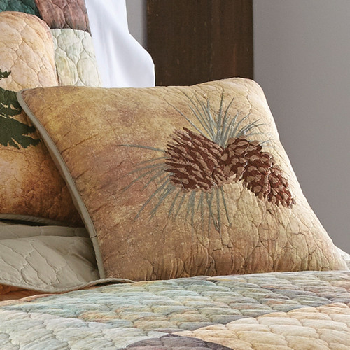 Country Cabin Pinecone Pillow