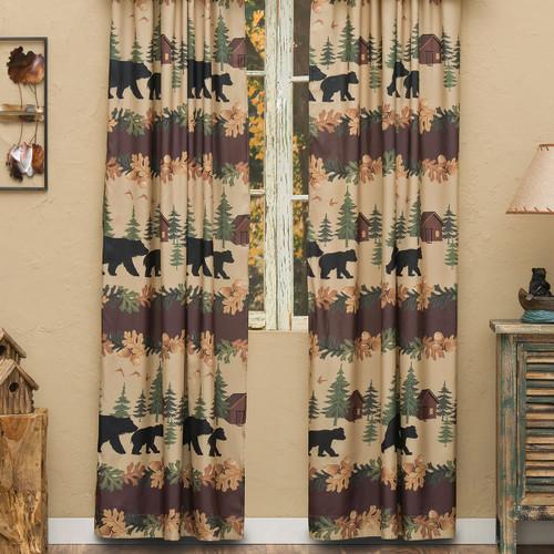 Cozy Cabin Bears Lined Drapes