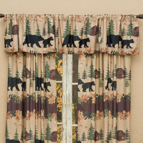 Cozy Cabin Bears Lined Valance
