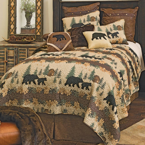 Cozy Cabin Bears Quilt Set - King