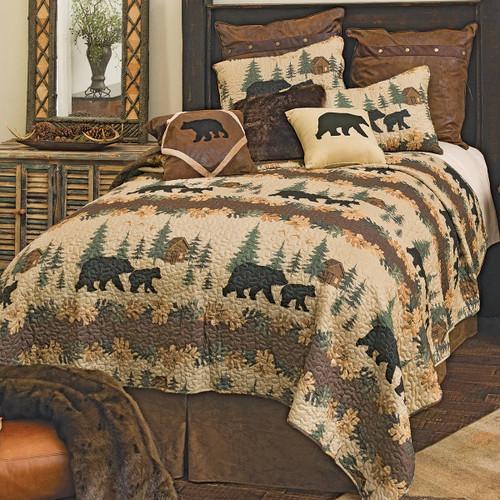 Cozy Cabin Bears Quilt Set - Queen