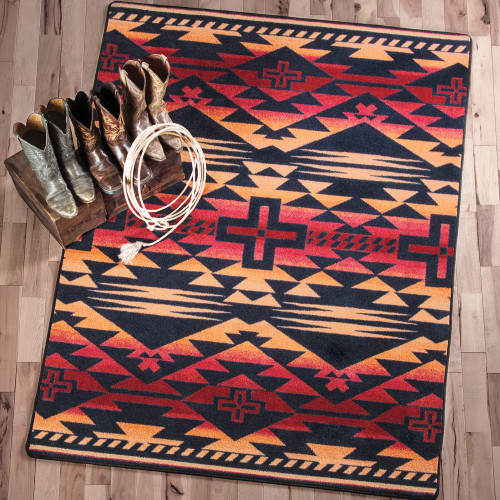 Rustic Cross Burnt Red Rug Collection
