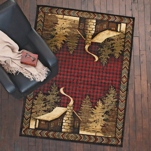 Cozy Cabin Red Rug - 8 x 10