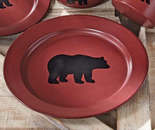 Crimson Bear Enamel Dinner Plate