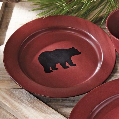 Crimson Bear Enamel Salad Plate