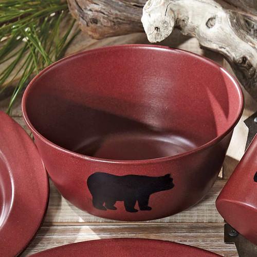 Crimson Bear Enamel Soup Bowl