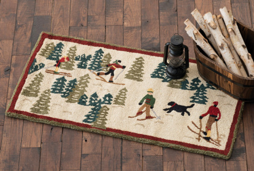 Cross Country Skiing Hooked Wool Accent Rug
