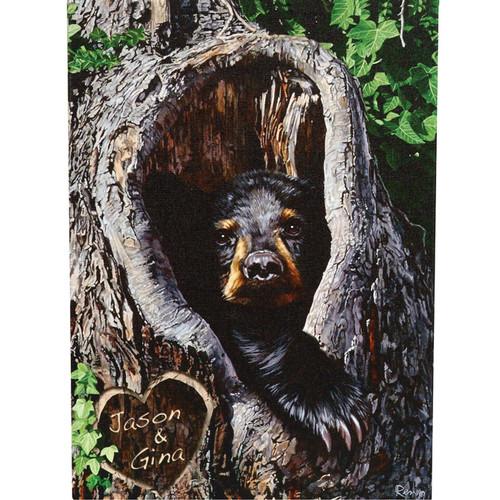 Cubby Hole Personalized Black Bear Cub Art