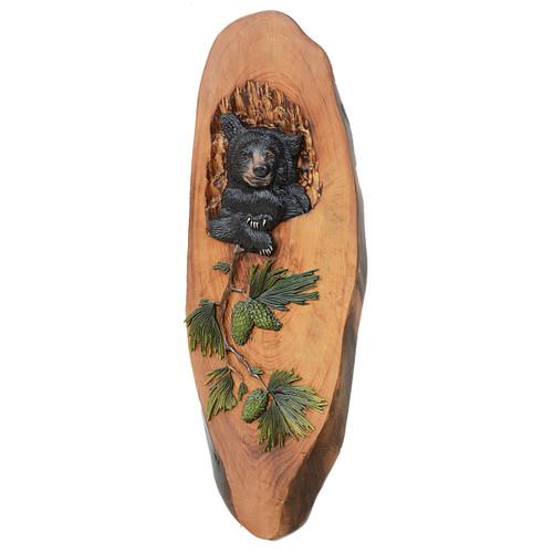 Cubbyhole Bear Wood Carved Wall Art