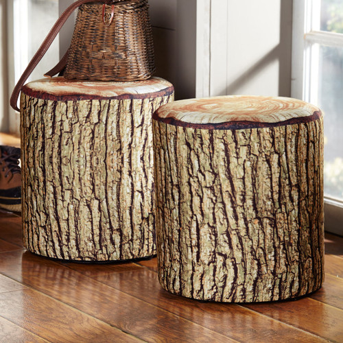 Cushioned Tree Bark Log Seat