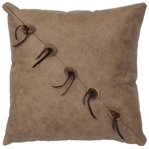 Daybreak Leather Pillow with Fabric Back