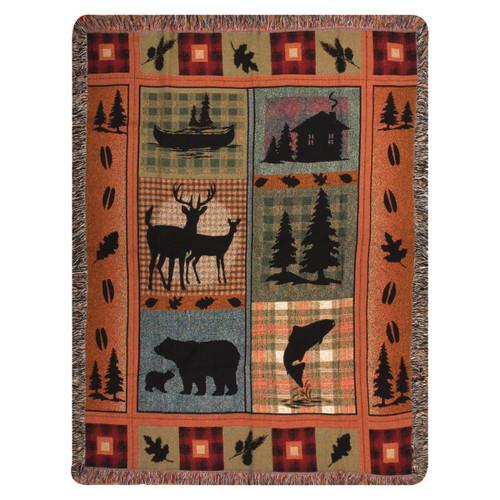 Deer & Bear Lake Tapestry Throw